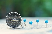 Compass and pin point marking with vintage world map background