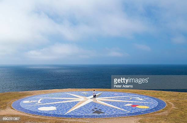 Compass in front of the Hercules tower, La Coruna