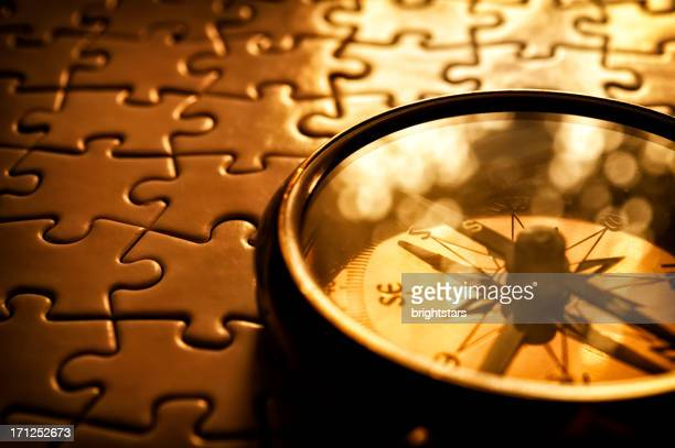 Compass on jigsaw puzzle