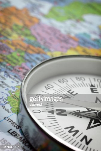 Compass on Map : Stock Photo