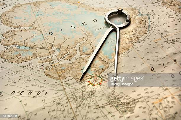 compass on nautical chart