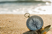 compass on the golden sand by the sea