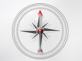 Compass on white background. Compass is lit from the upper left corner of composition. Horizontal composition with copy space. Directly above.
