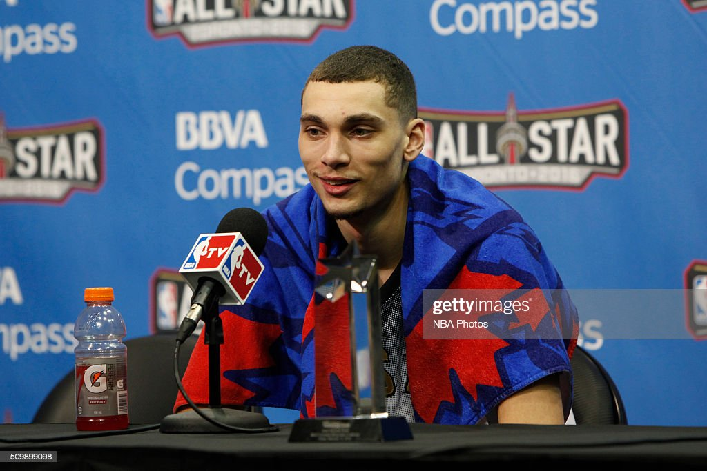 Compass Rising Stars Challenge MVP <a gi-track='captionPersonalityLinkClicked' href=/galleries/search?phrase=Zach+LaVine&family=editorial&specificpeople=11631430 ng-click='$event.stopPropagation()'>Zach LaVine</a> #8 of the USA Team speaks with press after the win against the World Team for the BBVA Compass Rising Stars Challenge as part of the 2016 NBA All Star Weekend on February 12, 2016 at Air Canada Centre in Toronto, Ontario.