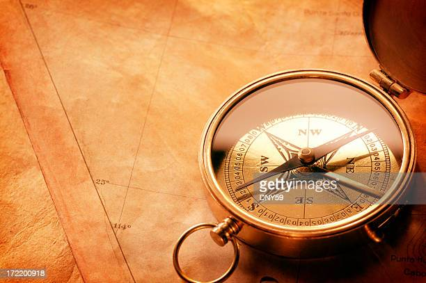 Compass stting on top of an antique map