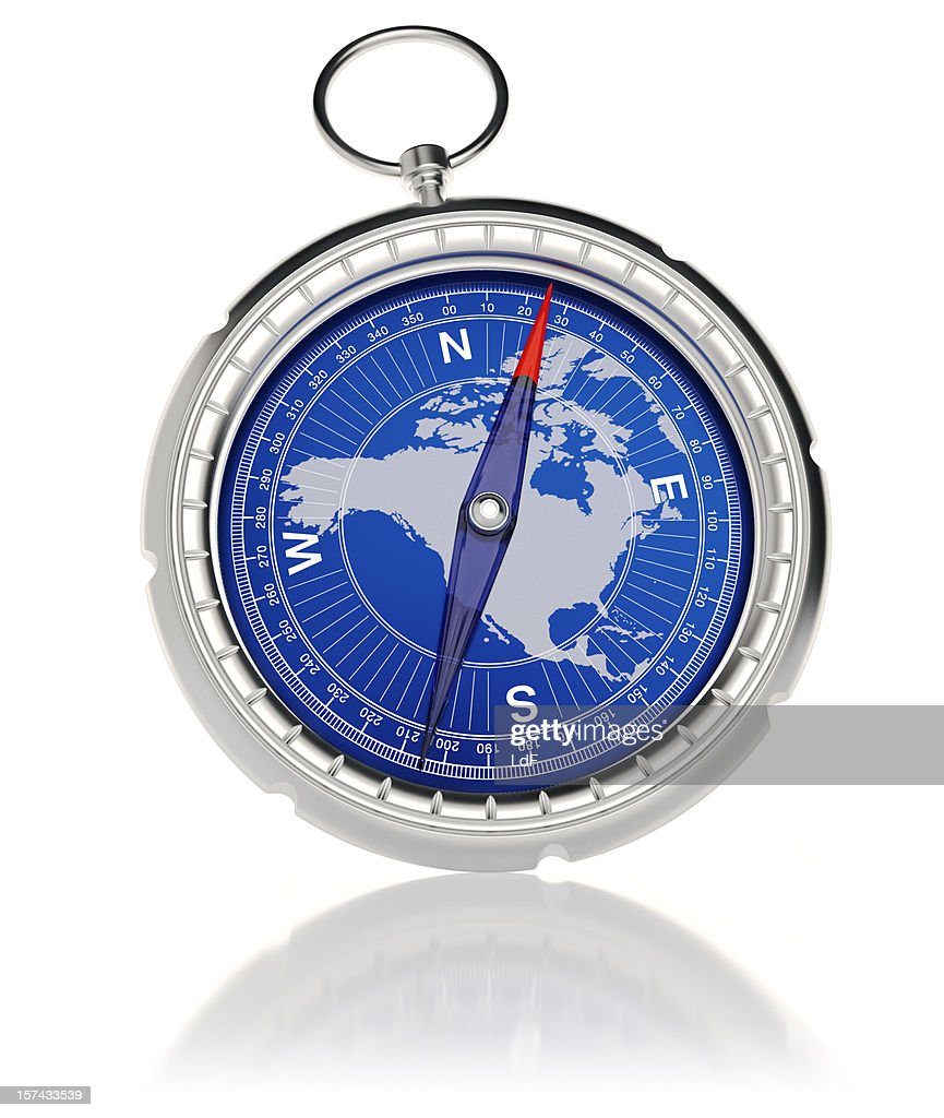 Compass with North America map : Stock Photo
