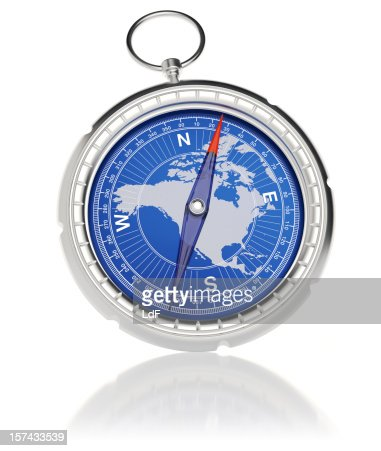 Compass with North America map : Stockfoto