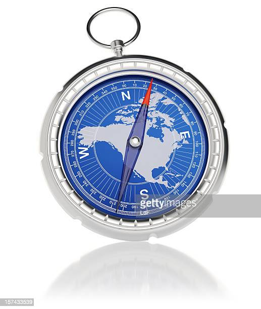 Compass with North America map