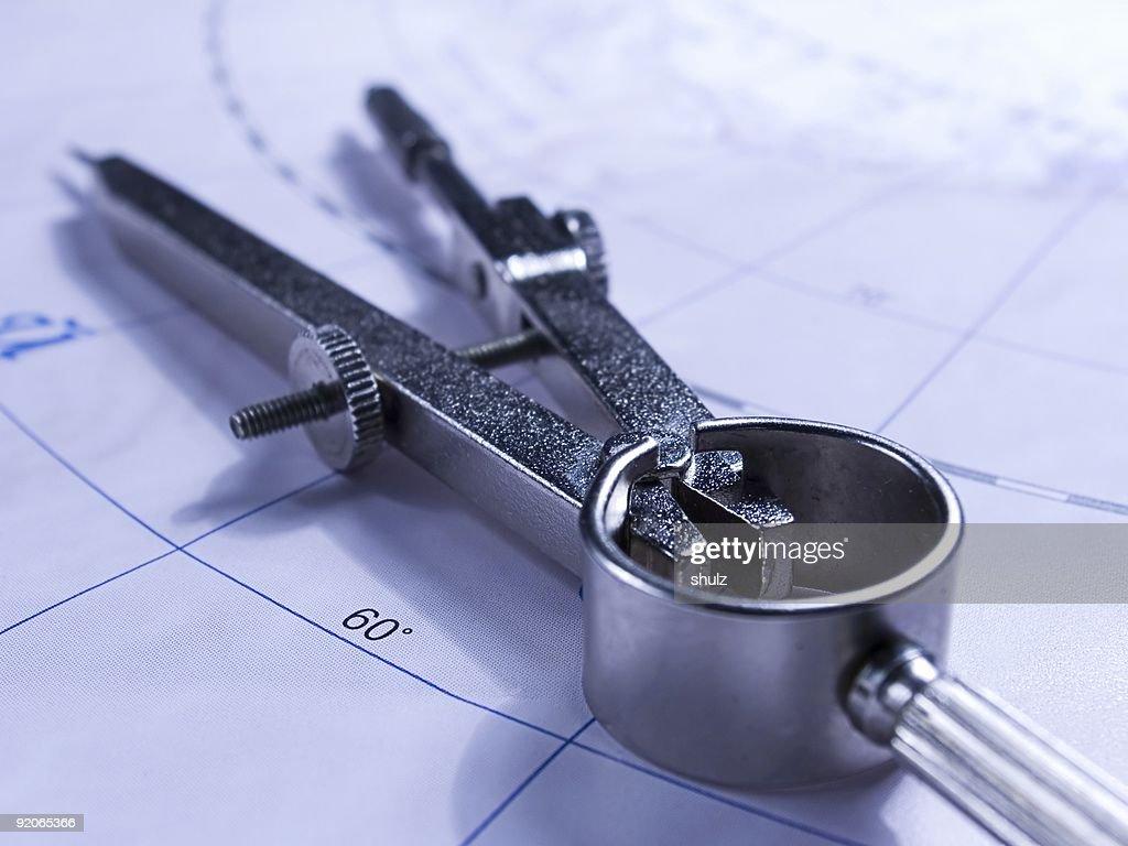 Kompass auf der Karte : Stock-Foto
