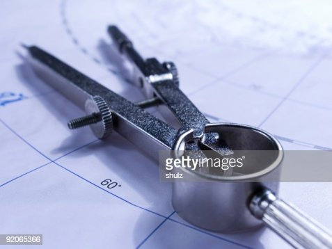 Compasses on the map : Stock Photo