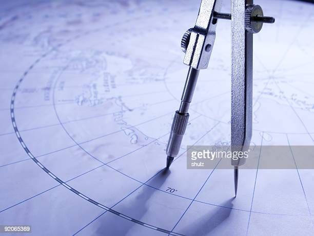 Compasses on the map