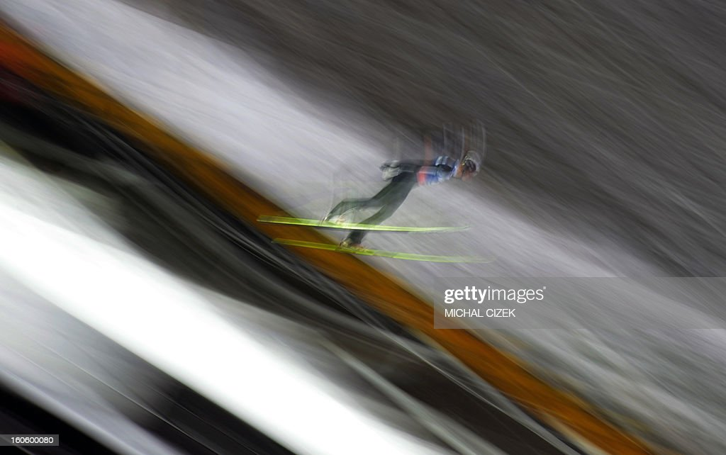 A compeditor takes part in the second competition of the Ski Flying event of the FIS Ski Jumping World Cup in Harrachov on February 03, 2013.Gregor Schlierenzauer of Austria won this event ahead Jan Matura of the Czech Repuplic (2nd) and Jurij Tepes of Slovenia (3rd).