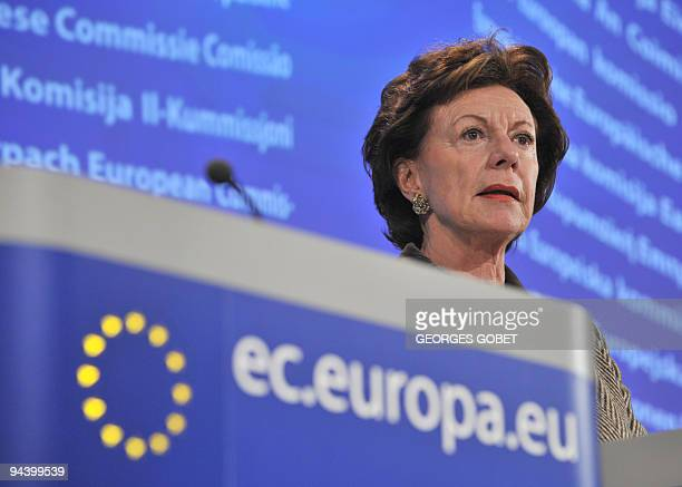 EU Competition Commissioner Neelie Kroes gestures during a press conference on an antitrust decision on December 9 2009 at the EU headquarters in...