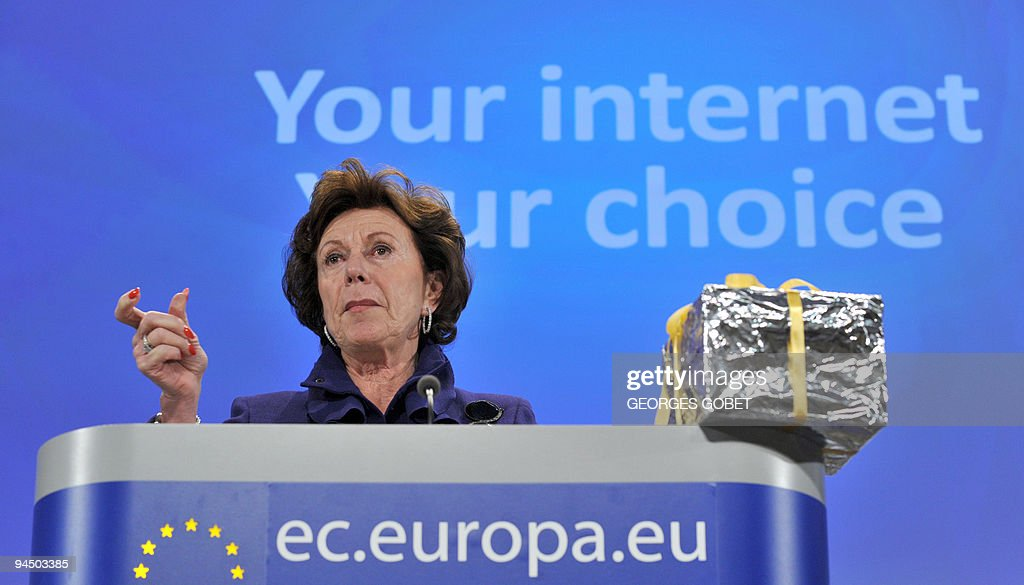 EU competition commissioner Neelie Kroes holds a press conference on December 16, 2009 at the EU headquarters in Brussels. The European Commission has adopted a decision that renders legally binding commitments offered by Microsoft to boost competition on the web browser market, ending the latest front in a decade-long anti-trust battle. AFP PHOTO / GEORGES GOBET