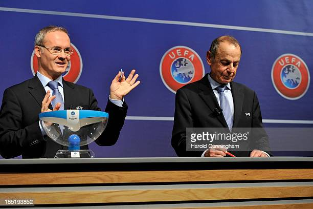 Competition Director Giorgio Marchetti and Mikael Salzer UEFA Head of Women's and Futsal Competitions conduct the UEFA Futsal Cup 2013/14 Finals...