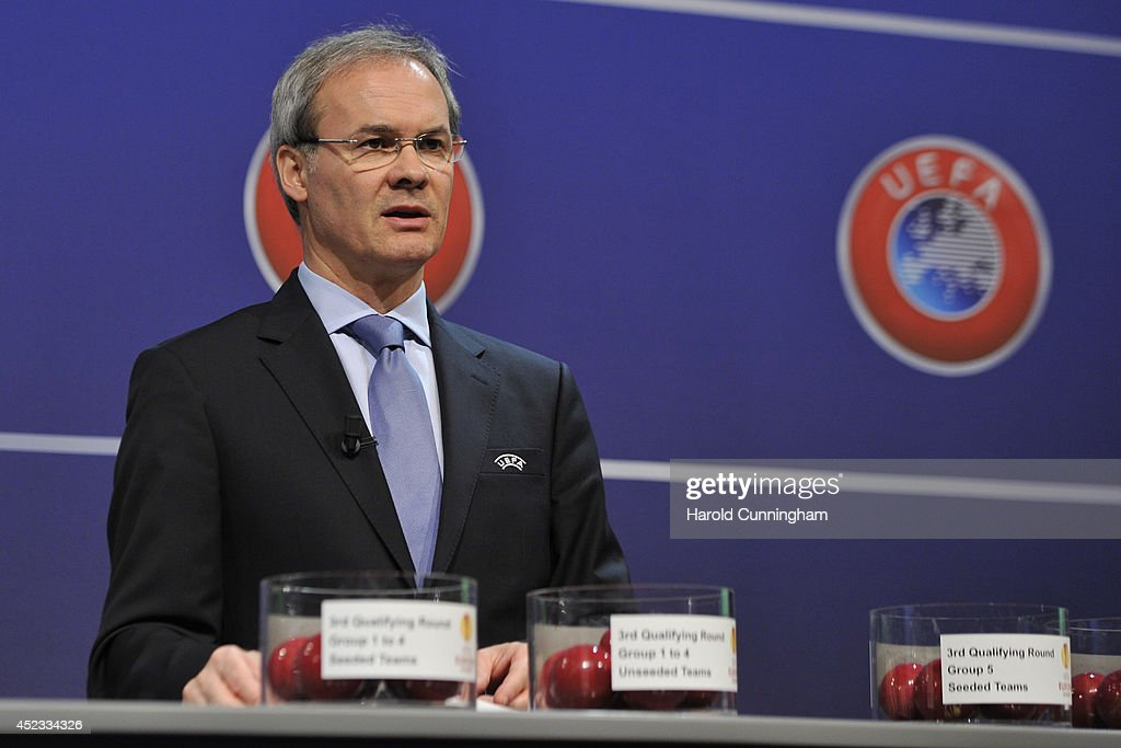 Competition Director Giorgio Marchetti proceeds to the UEFA 2014/15 Europa League third qualifying rounds draw at the UEFA headquarters, The House of European Football, on July 18, 2014 in Nyon, Switzerland.