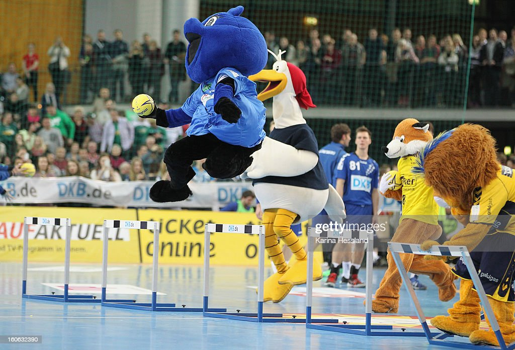Competition involving the Mascots during the match between Germany and Bundesliga All Stars on February 2, 2013 in Leipzig, Germany.