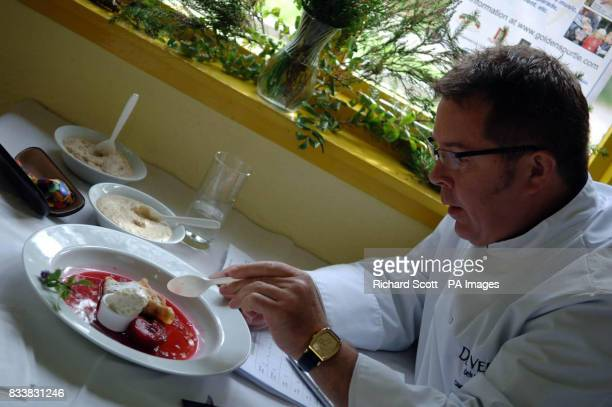Competition judge Colin Bussey Executive Chef at the Cameron House on Loch Lomond samples one of the dishes at the 14th annual World Porridge Making...
