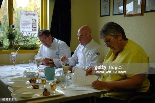 Competition judges from Colin Bussey Executive Chef at the Cameron House on Loch Lomond George McIvor Chairman of the Master Chefs of Great Britain...