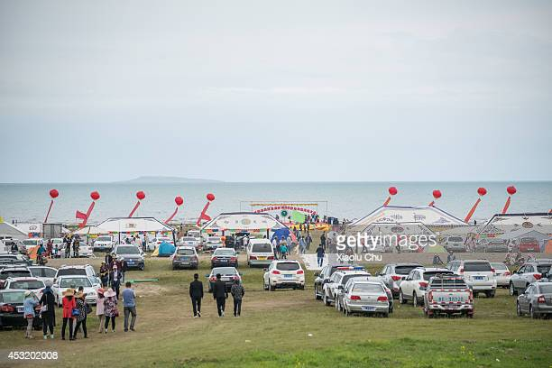 A competition of the studhorse is held at the shore of Qinghai Lake Qinghai Lakethe sacred lake of the Tibetan Buddhism is the largest salt lake in...
