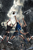 Sports, game, fighting, rain, stadium - Rugby players on a stadium