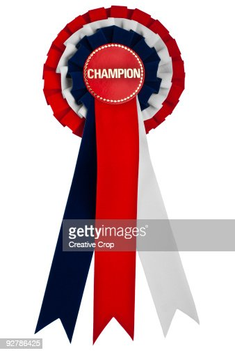 Competition rossette red white and blue CHAMPION : Foto stock
