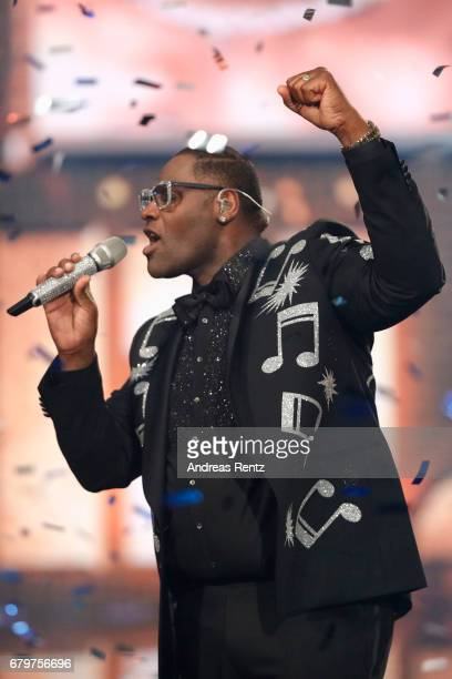 Competition winner 'Superstar 2017' Alphonso Williams performs during the finals of the tv competition 'Deutschland sucht den Superstar' at Coloneum...