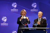 Competitions Director Giorgio Marchetti and Czech former international and tournament ambassador Pavel Nedved make the draw during the UEFA 2015...