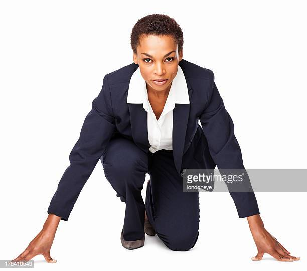 Competitive Businesswoman - Isolated