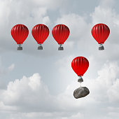 Competitive struggle and business disadvantage or disability concept as a group of hot air balloons racing to the top but an individual laggard attached to a heavy rock boulder struggling to compete a