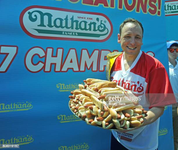 Competitive eating champion Joey Chestnut wins the 2017 Nathans Famous 4th Of July International Hot Dog Eating Contest with 72 hot dogs at Coney...