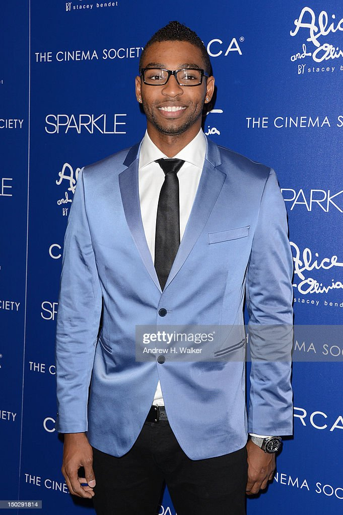 U.S. competitive swimmer and Olympic gold medalist <a gi-track='captionPersonalityLinkClicked' href=/galleries/search?phrase=Cullen+Jones&family=editorial&specificpeople=1047215 ng-click='$event.stopPropagation()'>Cullen Jones</a> attends The Cinema Society with Circa and Alice & Olivia screening of 'Sparkle' at Tribeca Grand Hotel on August 14, 2012 in New York City.