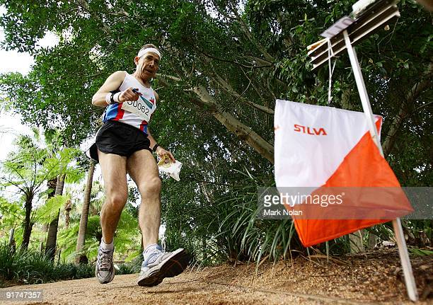 A competitor arrives at a control point during the mens Orienteering during day two of the 2009 Sydney World Masters Games at Sydney Olympic Park on...