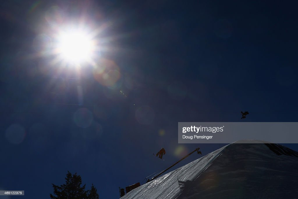 A competitor competes during the Snowboard Slopestyle finals at Winter X-Games 2014 Aspen at Buttermilk Mountain on January 25, 2014 in Aspen, Colorado.