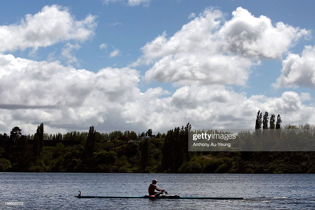 Competitor competes during the Te Awamutu Rowing Clubs Annual Club Regatta at Lake Karapiro on November 2, 2013 in Karapiro, New Zealand.