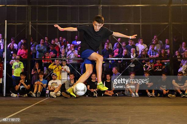 A competitor competes in the freestyle football competition during the Soccerex Manchester football festival at Granada Studios on September 6 2015...