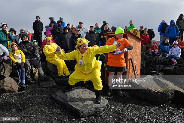 A competitor dressed as Pikachu competes in the World Stone Skimming Championships held on Easdale Island on September 25 2013 in Easdale Seil...