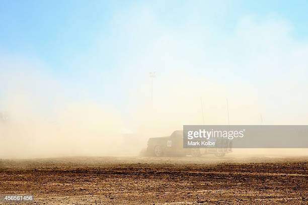 A competitor drives in the Australian national circle work championships heats on the first day of the 2014 Deni Ute Muster at the Play on the Plains...
