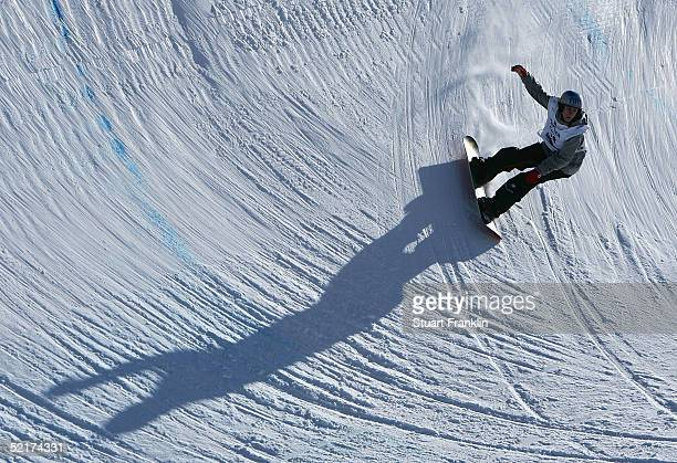 A competitor during the Men's Half Pipe at the Nokia Snowboard FIS World Cup on Feburary 10 2005 in Bardonecchia Italy