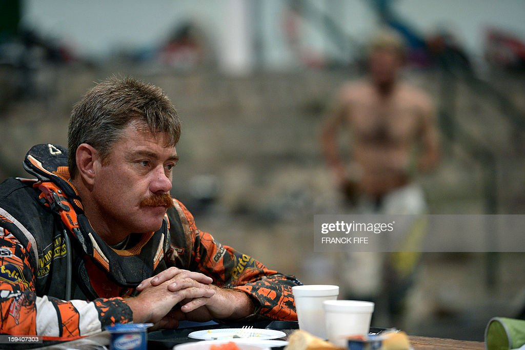 A competitor eats breakfast in Cachi before Stage 8 of the Dakar Rally 2013 between Calama and Salta, Argentina, on January 11, 2013. The rally takes place in Peru, Argentina and Chile January 5-20.