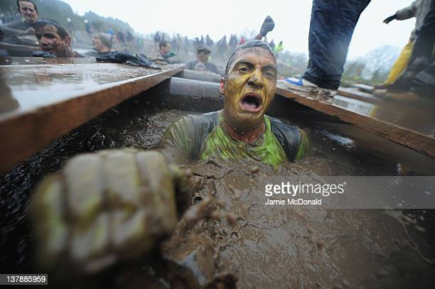 A competitor emerges from muddy water during the Tough Guy Challenge endurance race on January 29 2012 in Telford England Every year thousands of...