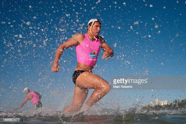 Competitor for Port Campbell SLSC exits the water during the 2013 Australian National Surf Lifesaving Titles on April 17 2013 on the Gold Coast...