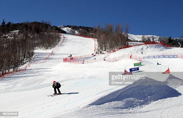 A competitor goes down the course during the 2010 Freestyle Skiing World Cup Ski Cross at Whiteface Mountain on January 23 2010 in Lake Placid New...