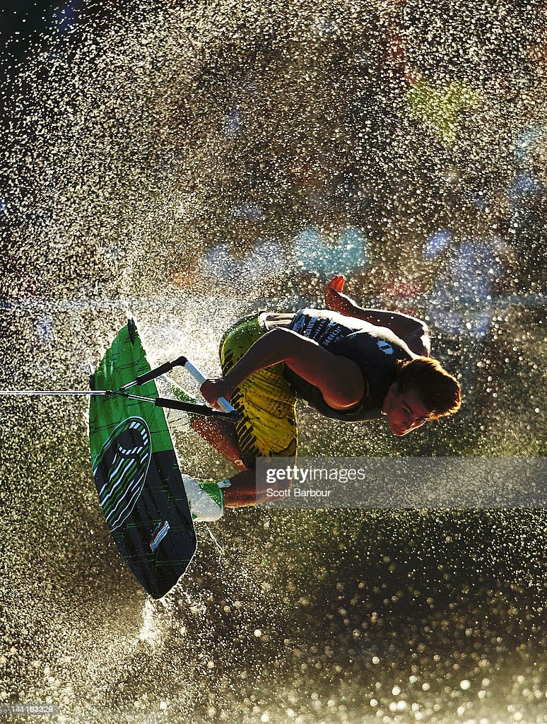 A competitor in action during the Mens Wakeboard event in the Moomba Masters Water Ski International Invitational Championships during the Moomba Festival on March 12, 2012 in Melbourne, Australia. The 2012 Moomba Parade is themed 'Melbourne is delicious,' with floats, music, local community groups and performers taking part.