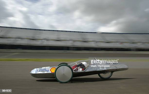 A competitor in action during the Shell Eco Marathon event at the Rockingham Motor Speedway in Corby on July 11 2002 The cars were competing to beat...