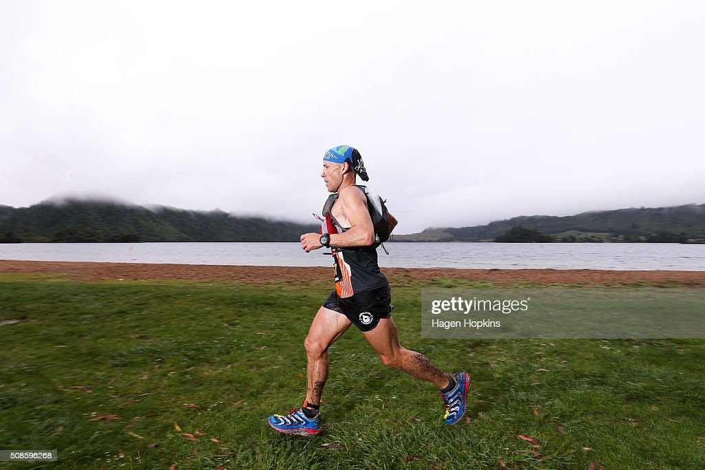 A competitor in action during the Tarawera Ultramarathon on February 6, 2016 in Rotorua, New Zealand.