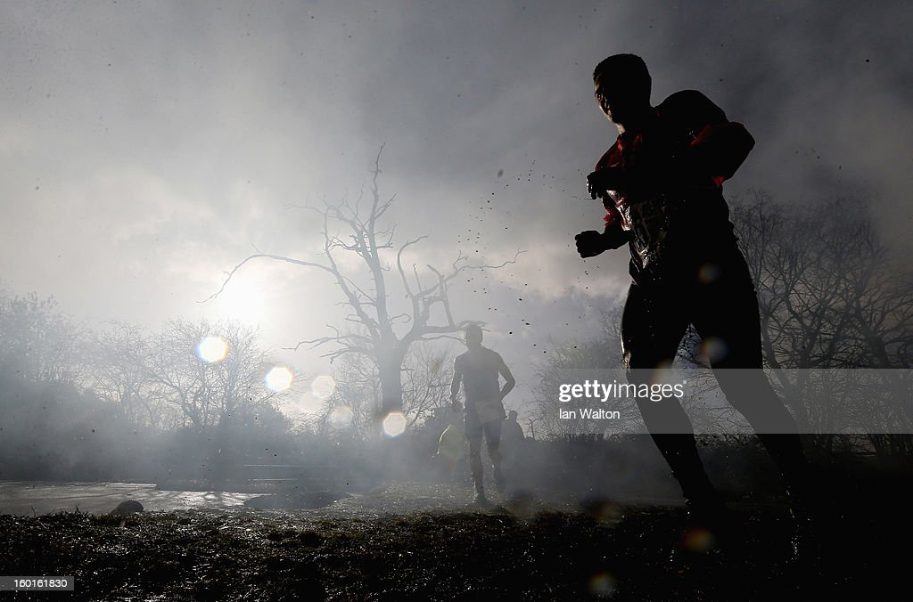 A competitor in action during the Tough Guy Challenge on January 27, 2013 in Telford, England.