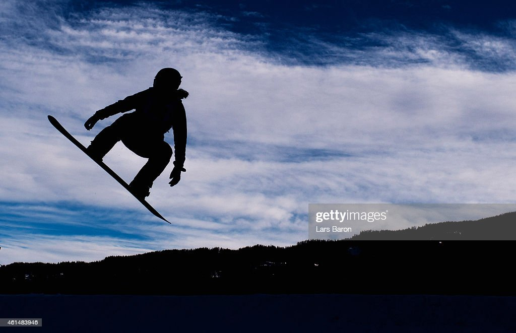 A competitor in action during Women's Snowboard Cross training ahead of the FIS Freestyle Ski World Championships on January 13 2015 in Kreischberg...
