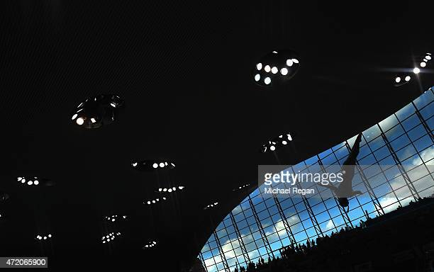 A competitor in action in the parctise session during day 3 of the FINA/NVC Diving World Series at Aquatics Centre on May 3 2015 in London England
