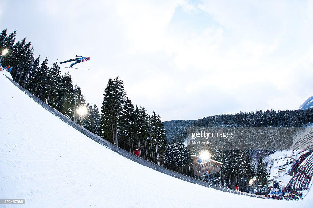 A competitor in flight during the Large Hill Individual competition on day two of the FIS Ski Jumping World Cup on February 8 2015 in Titisee Germany